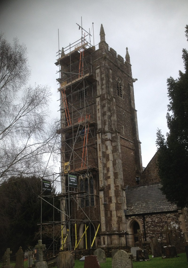 Restoration work to Church tower in Kentisbeare