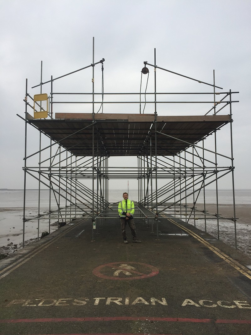 Birdcage scaffold for the annual Burnham-on-Sea firework display